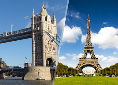 Francia e Inghilterra: Parigi e Londra in aereo