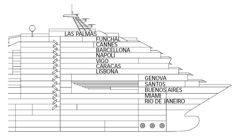 Ponti della nave costa fortuna costa crociere for Costa mediterranea ponti
