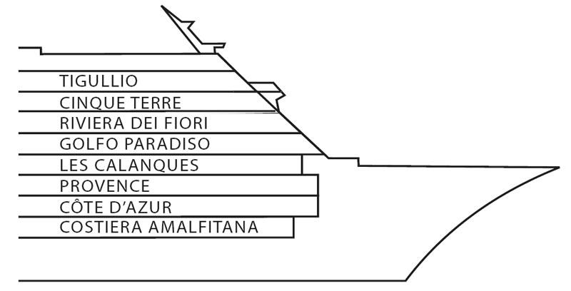 Ponti della nave costa neoriviera costa crociere for Costa deliziosa ponti