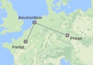 Nord-ovest, Centro e Sud Europa: Praga, Amsterdam e Parigi in aereo