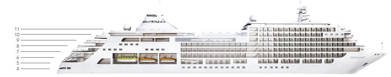 Ponte deck 5 della nave silver spirit silversea for Disegni ponte veranda