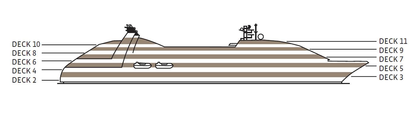 Ponte deck 6 della nave seabourn quest seabourn for Disegni ponte veranda