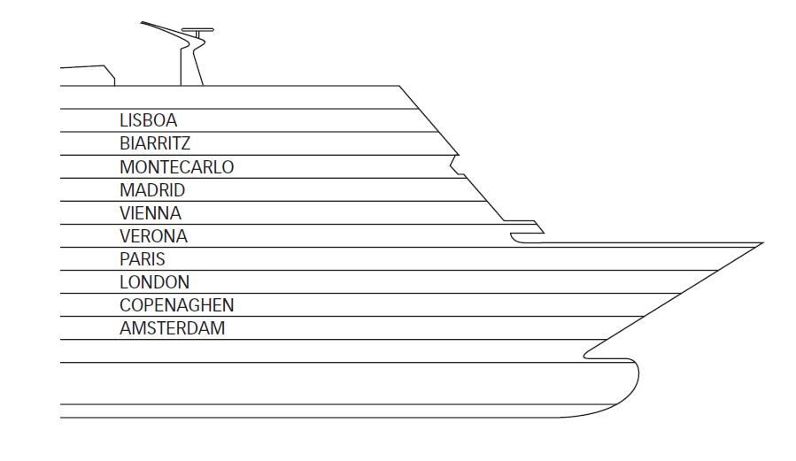 Ponti della nave costa neoromantica costa crociere for Costa deliziosa ponti