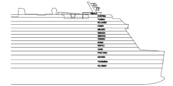 Ponti della nave costa smeralda costa crociere logitravel for Costa deliziosa ponti